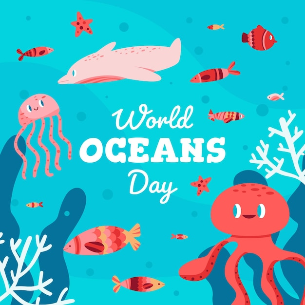 Giornata mondiale degli oceani con polpo e pesce Vettore gratuito
