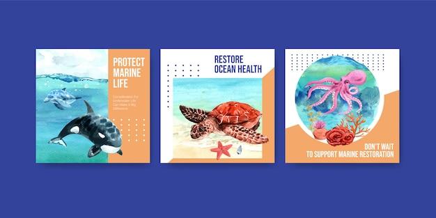 Giornata mondiale degli oceani modello di pubblicità di concetto di protezione dell'ambiente con tartaruga, corallo, polpo e orca. Vettore gratuito