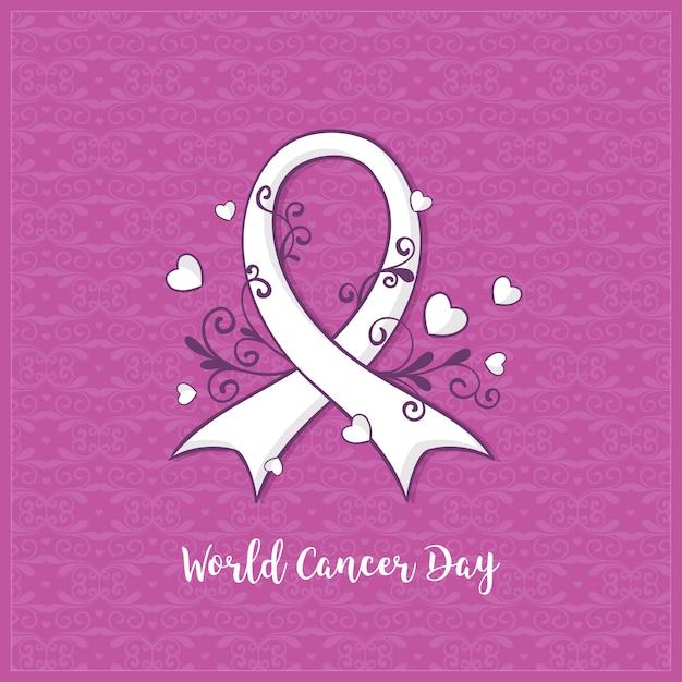 Giornata mondiale del cancro piatto Vettore Premium