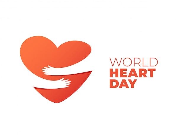 Giornata mondiale del cuore, mani che abbracciano il simbolo del cuore Vettore Premium
