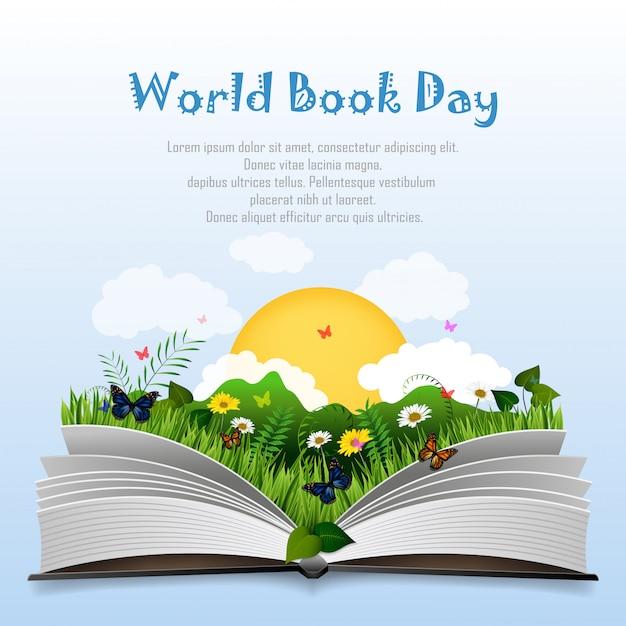 Giornata mondiale del libro con libro aperto ed erba verde Vettore Premium