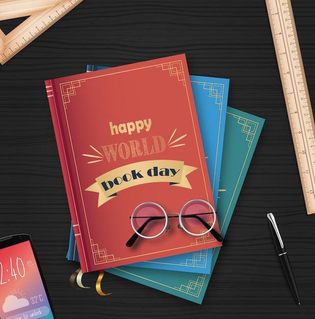 Giornata mondiale del libro con una pila di libri Vettore Premium