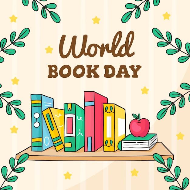 Giornata mondiale del libro disegnato a mano Vettore gratuito
