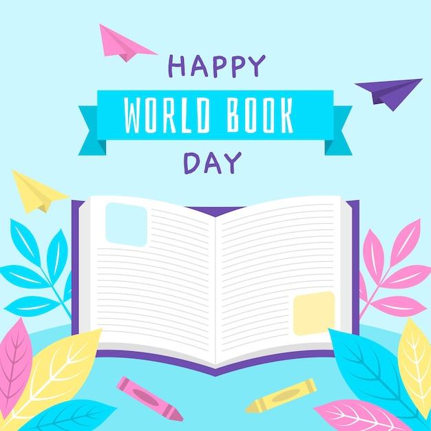 Giornata mondiale del libro in design piatto Vettore gratuito