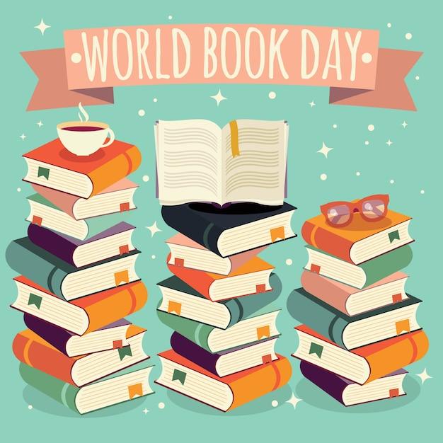 Giornata mondiale del libro, libro aperto su una pila di libri con gli occhiali su sfondo di menta Vettore Premium