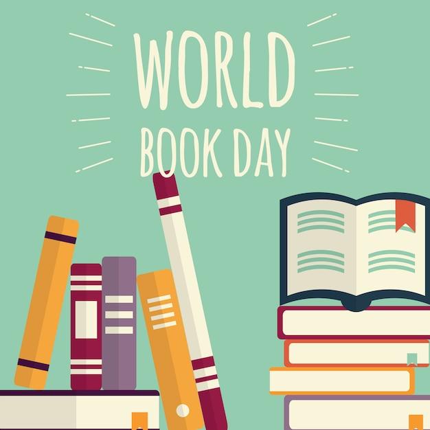 Giornata mondiale del libro, pile di libri su sfondo di menta Vettore Premium
