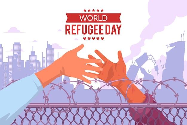 Giornata mondiale del rifugiato in design piatto Vettore gratuito