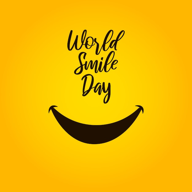 Giornata mondiale del sorriso su sfondo giallo. Vettore Premium