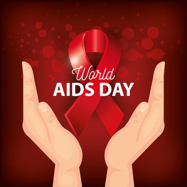Giornata mondiale dell'aids con la bandiera della mano e del nastro Vettore Premium