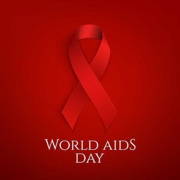 Giornata mondiale dell'aids. fiocco rosso. Vettore Premium