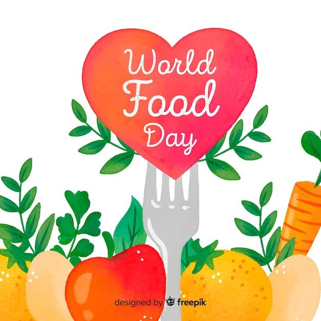 Giornata mondiale dell'alimentazione ad acquerello con cuore e forchetta Vettore gratuito