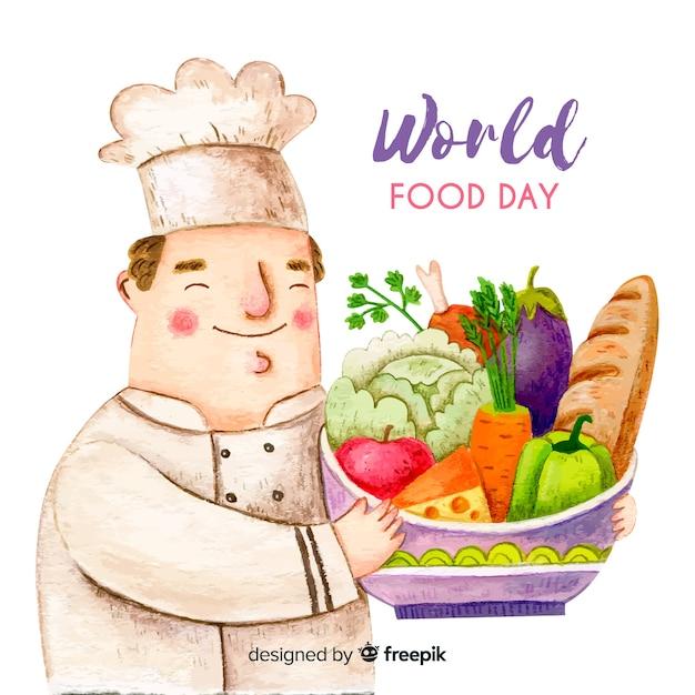 Giornata mondiale dell'alimentazione ad acquerello Vettore gratuito