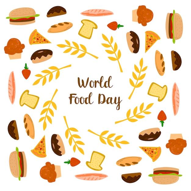 Giornata mondiale dell'alimentazione con elementi di ciambella, pane e pizza Vettore Premium