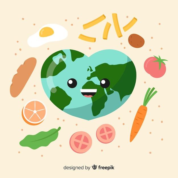 Giornata mondiale dell'alimentazione con terra in design piatto Vettore gratuito