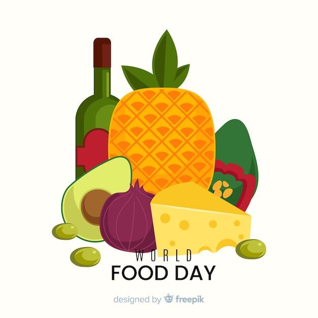 Giornata mondiale dell'alimentazione design piatto e una bottiglia di vino Vettore gratuito