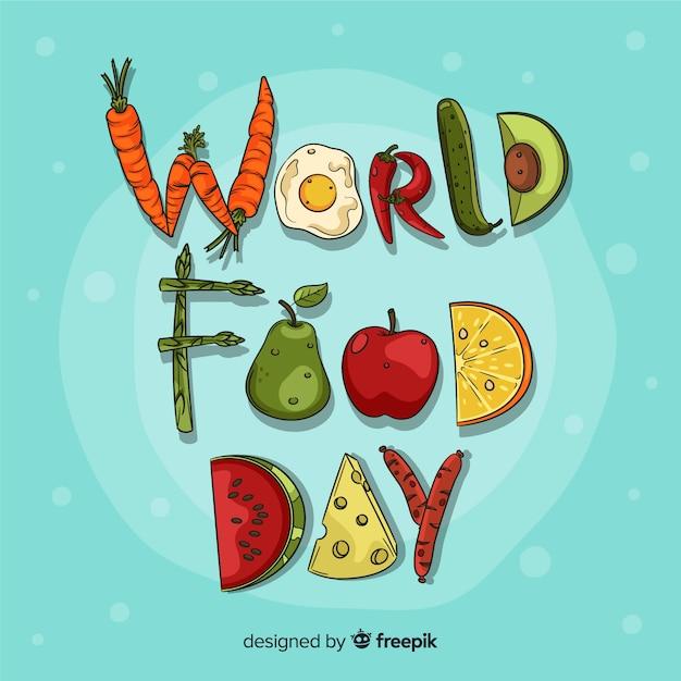Giornata mondiale dell'alimentazione disegnata a mano Vettore gratuito