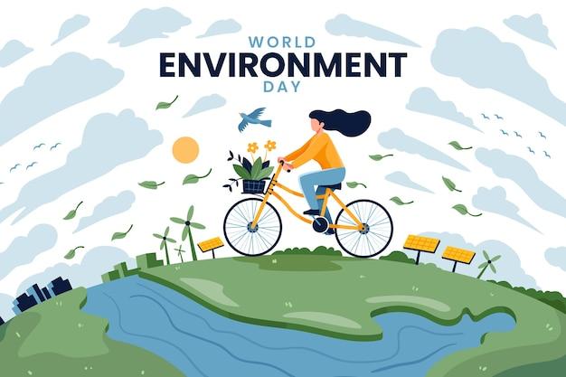 Giornata mondiale dell'ambiente con la donna in sella alla bicicletta Vettore gratuito