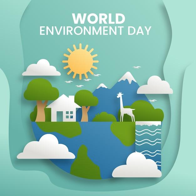 Giornata mondiale dell'ambiente in stile carta Vettore gratuito