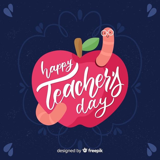 Giornata mondiale dell'insegnante lettering sfondo Vettore gratuito