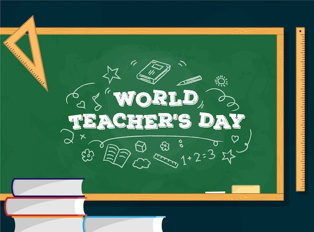 Giornata mondiale dell'insegnante Vettore Premium