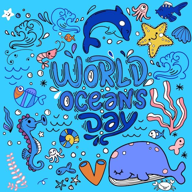 Giornata mondiale dell'oceano, dedicata alla protezione di animali marini, oceanici e marini. sfondo con balene, granchi, stelle marine, pesci, tartarughe, scritte disegnate a mano Vettore Premium