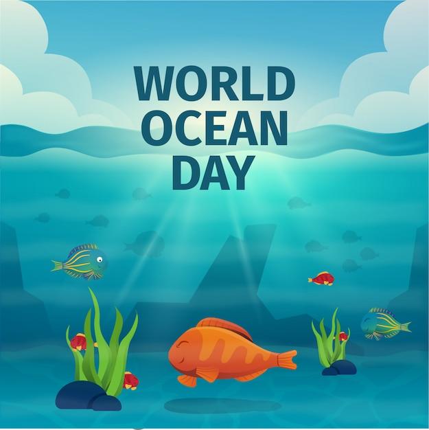 Giornata mondiale dell'oceano Vettore Premium