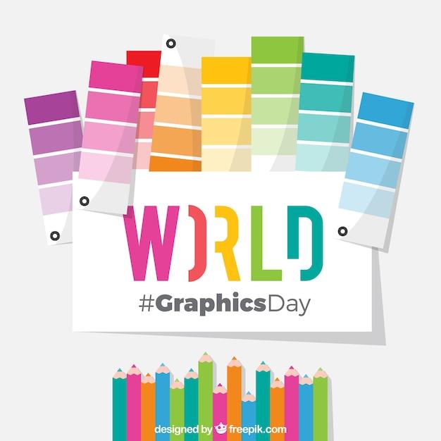 Giornata mondiale della grafica di sfondo con pantoni e matite colorate Vettore gratuito