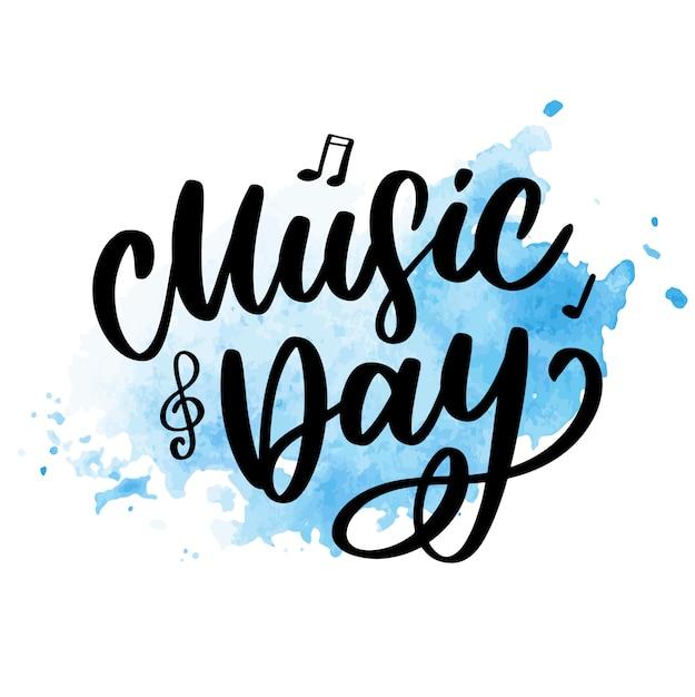 Giornata mondiale della musica lettering calligrafia pennello logo vacanza Vettore Premium