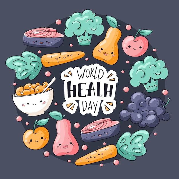 Giornata mondiale della salute. biglietto di auguri di cibo sano in stile kawaii Vettore Premium