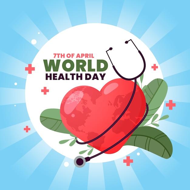 Giornata mondiale della salute con stetoscopio e foglie Vettore gratuito