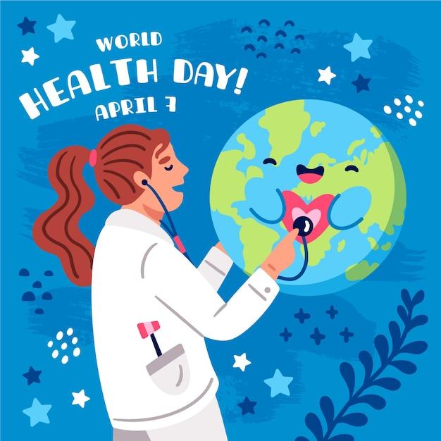 Giornata mondiale della salute disegnata a mano con medico che consulta pianeta felice Vettore gratuito