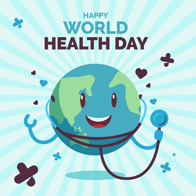 Giornata mondiale della salute terra con stetoscopio Vettore gratuito