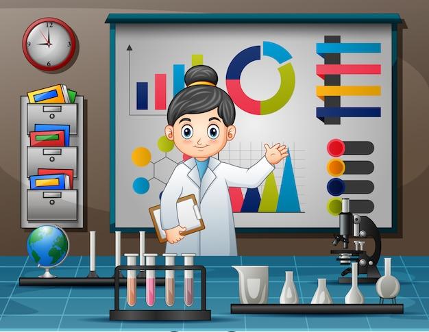 Giornata mondiale della scienza con donne scienziate Vettore Premium