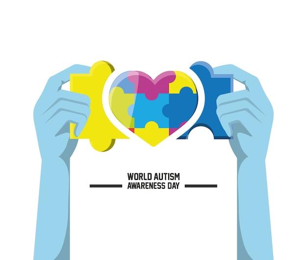 Giornata mondiale per l'autismo Vettore Premium