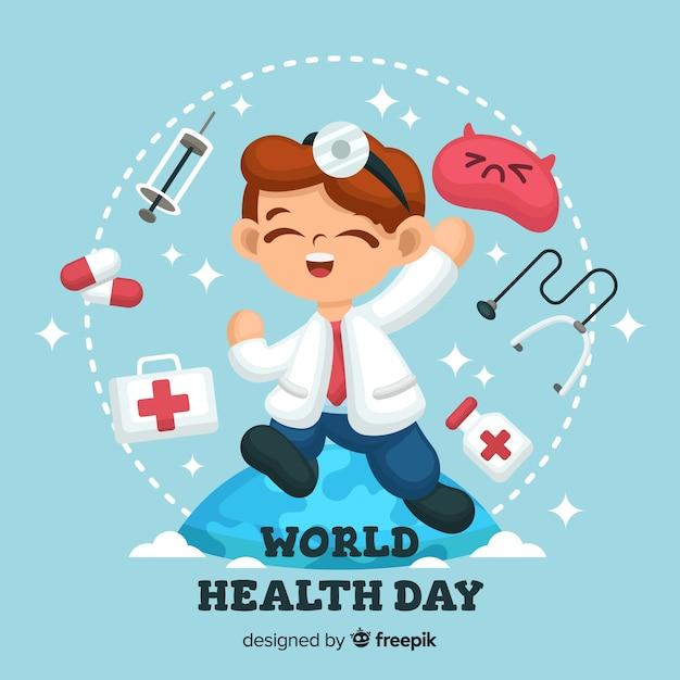 Giornata mondiale piatto salute sfondo Vettore gratuito