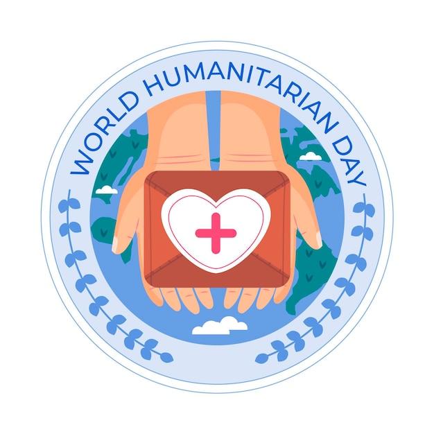 Giornata mondiale umanitaria con le mani in possesso di kit di aiuto Vettore gratuito