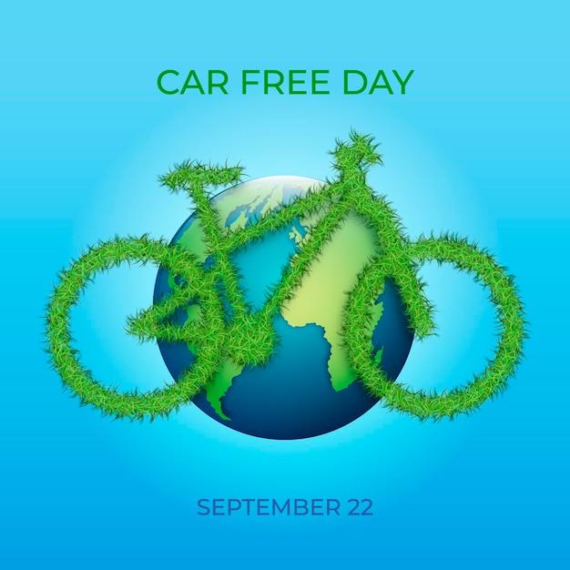 Giornata senza auto per il mondo realistico Vettore gratuito