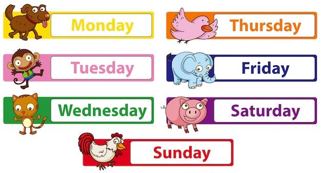 Giorni della settimana con animali sui cartelli Vettore gratuito