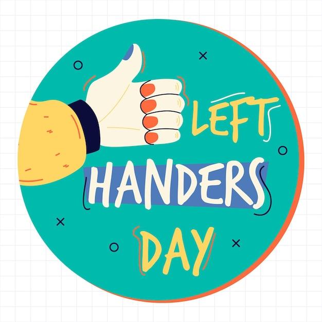 Giorno dei mancini con la mano che tiene i pollici in su Vettore gratuito