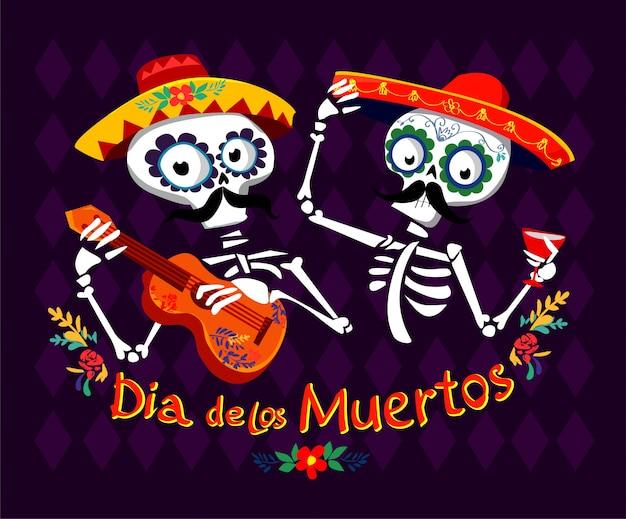 Giorno dei morti illustrazione vettoriale cartolina. dia de los muertos messicano. Vettore Premium