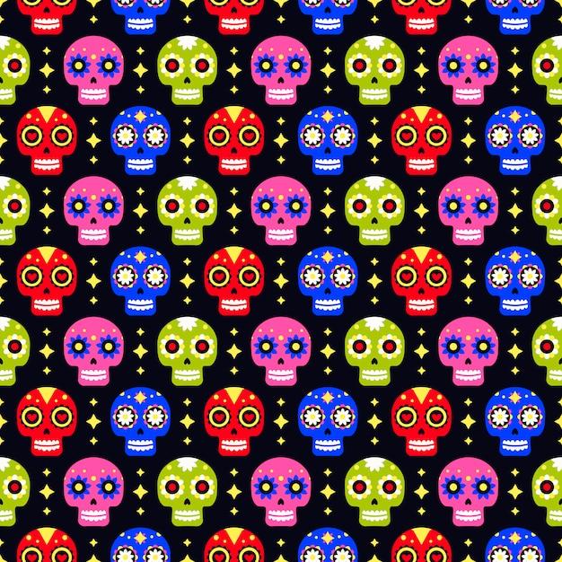 Giorno dei morti seamless con teschio colorato Vettore Premium