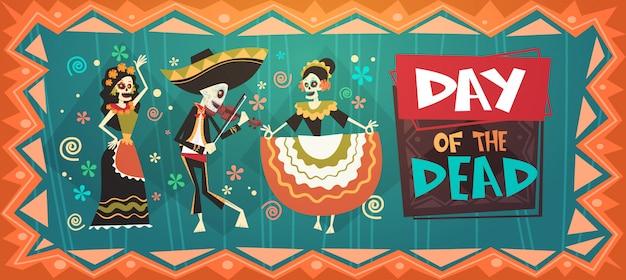 Giorno dei morti tradizionale messicano halloween dia de los muertos holiday party decorazione banner invito Vettore Premium