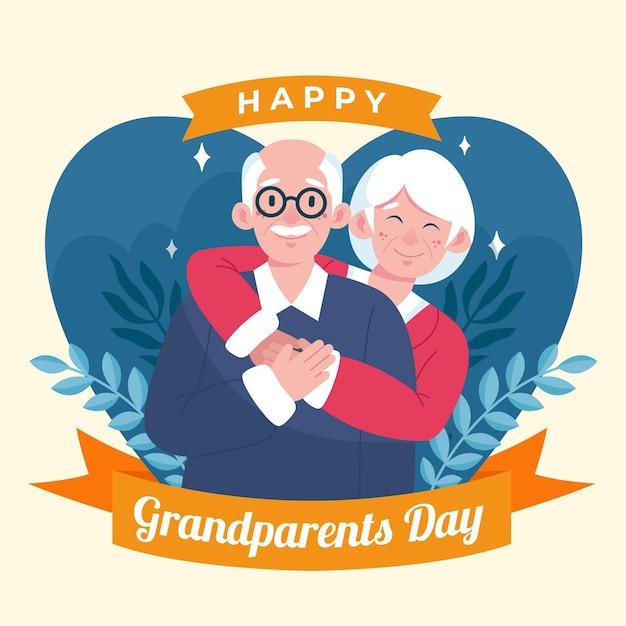 Giorno dei nonni nazionali stile disegnato a mano Vettore gratuito