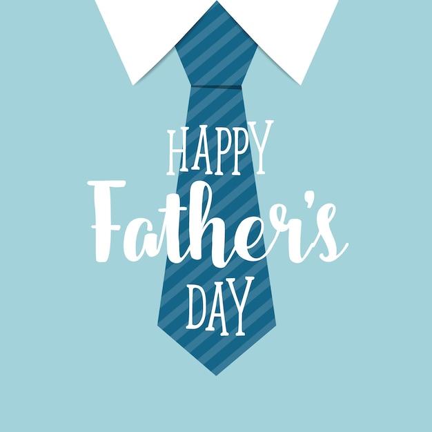 Giorno dei padri felici con sfondo cravatta blu Vettore gratuito