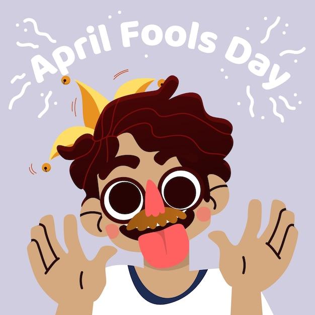Giorno dei pesci d'aprile con la persona che indossa la maschera Vettore gratuito