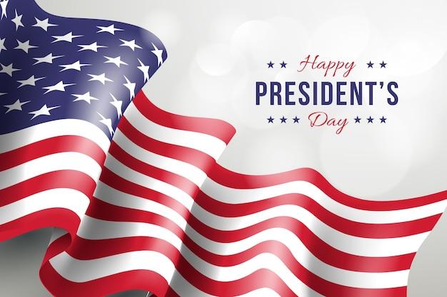 Giorno dei presidenti con bandiera realistica e saluto Vettore gratuito