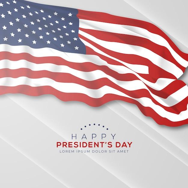 Giorno dei presidenti con bandiera realistica Vettore gratuito