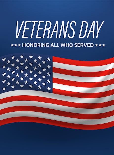Giorno dei veterani. onorare tutti coloro che hanno servito. illustrazione vettoriale Vettore Premium