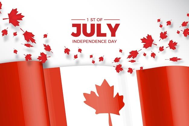 Giorno del canada con bandiera realistica e foglie di acero Vettore gratuito