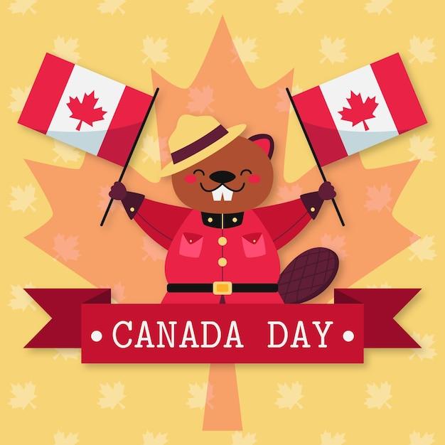 Giorno del canada con castoro e bandiere Vettore gratuito